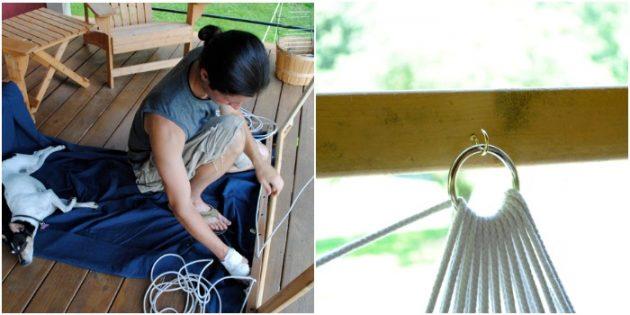 Гамак своими руками: Гамак из прошитой ткани на верёвках и рейках