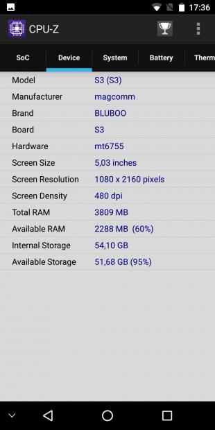 Bluboo S3. CPU-Z