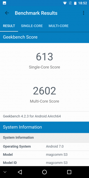 Bluboo S3. GeekBench