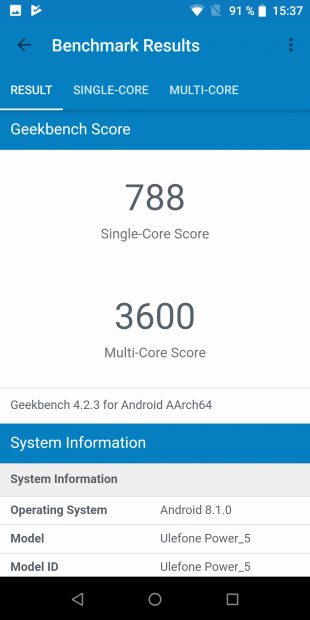 Ulefone Power 5. GeekBench