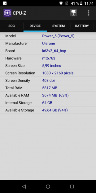 Ulefone Power 5. CPU-Z