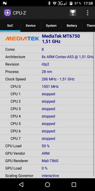 Vernee M6. CPU-Z