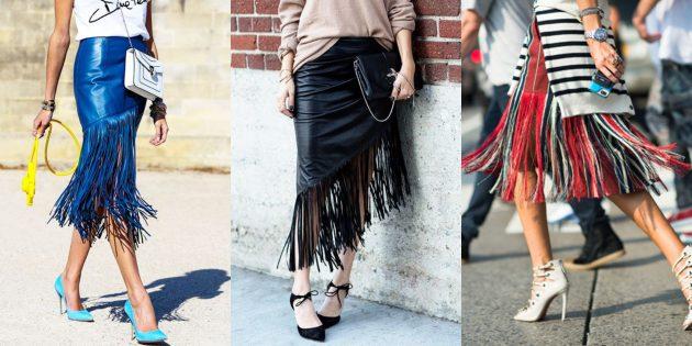Самые модные юбки 2018 года: Юбки с бахромой