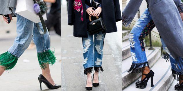 Модные женские джинсы 2018 года: Джинсы с бахромой