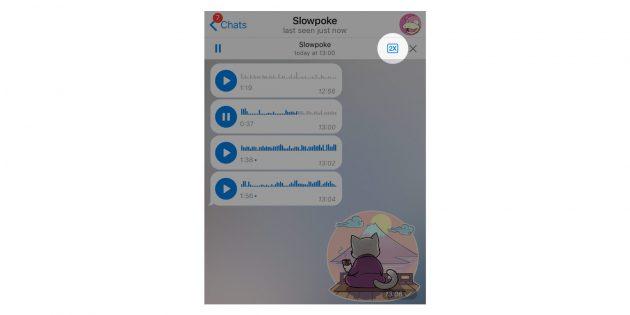 версия Telegram: ускорение голосовых сообщений