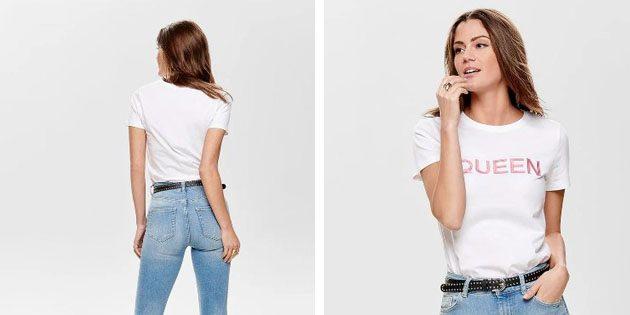 Модные женские футболки из европейских магазинов: Футболка Only из чистого хлопка
