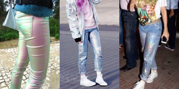 Модные женские джинсы 2018 года: Джинсы с голографическим финишем