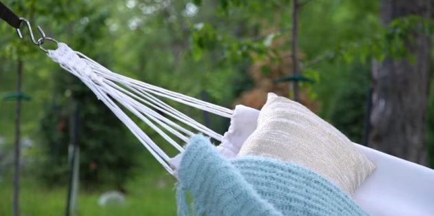 Гамак своими руками: Гамак из прошитой ткани на рейках и верёвках с элементами макраме