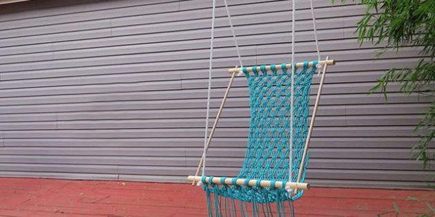 Гамак своими руками: Кресло-гамак на рейках в технике макраме