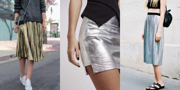 Самые модные юбки 2018 года: Юбки металлик