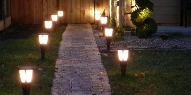 Садовые дорожки со светильниками