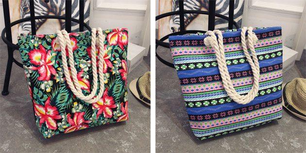 Пляжные сумки с ярким узором