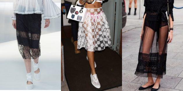 Самые модные юбки 2018 года: Юбки с прозрачными элементами