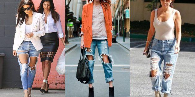 Модные женские джинсы 2018 года: Ну очень драные джинсы