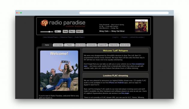 Музыка в формате в формате FLAC: Radio Paradise