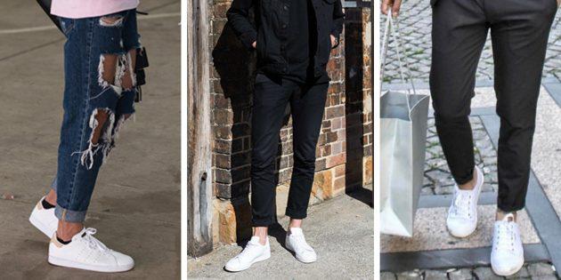 Модная мужская обувь 2018 года: Белые текстильные сникерсы