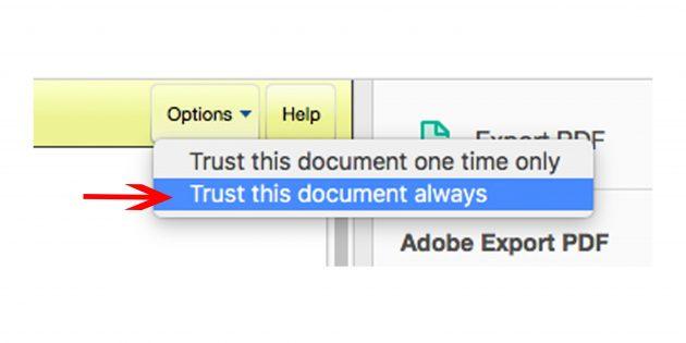 Как получить визу в США: Выберите в правом верхнем углу кнопку «Доверять этому документу всегда»