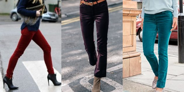 Модные женские джинсы 2018 года: Бархатные джинсы
