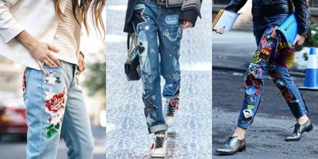Модные женские джинсы 2018 года: Джинсы с аппликациями и украшениями