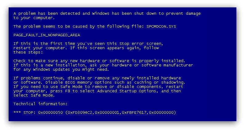 Синий экран смерти на Windows 7 и XP