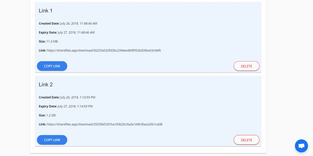 Share Files: Управление ссылками