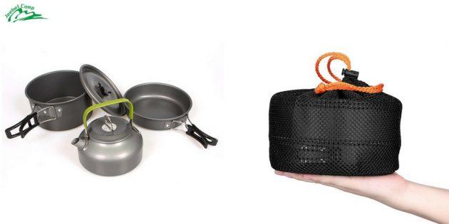 Что брать в поход: набор посуды с чайником