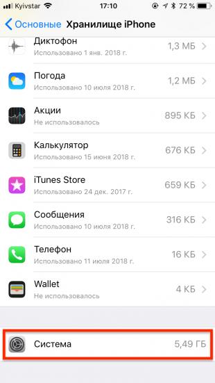 как очистить память: хранилище iPhone