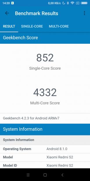 Redmi S2: GeekBench