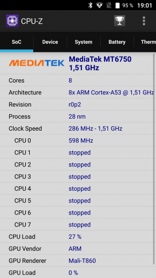 Защищенный смартфон Poptel P9000 Max: CPU-Z