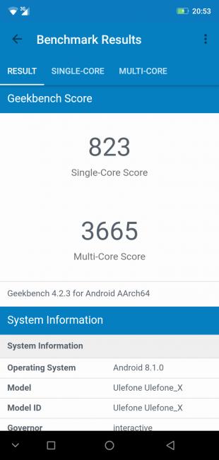 Обзор смартфона Ulefone X: GeekBench
