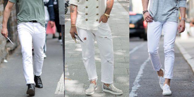 Самые модные мужские джинсы 2018 года: Белые джинсы