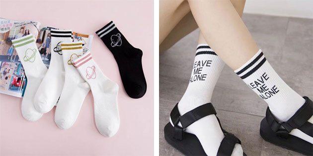 Красивые носки: длинные хлопковые носки