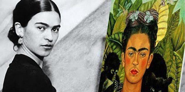 Фрида Кало со своим автопортретом