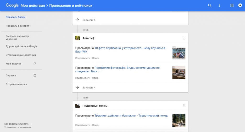 данные Google: Ваши запросы