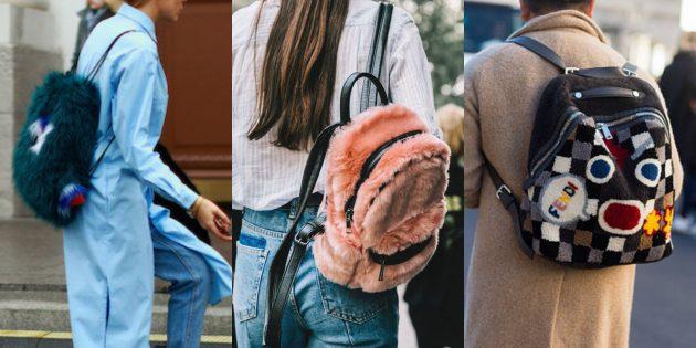 Самые модные рюкзаки 2018 года: Рюкзачки с мехом