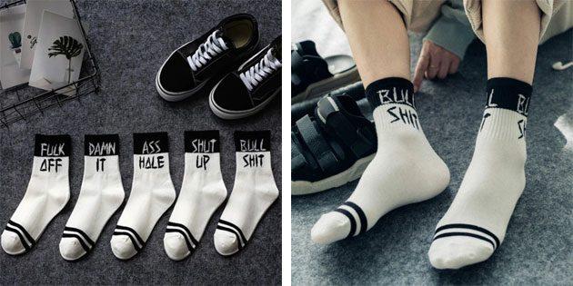 Мужские носки с надписями