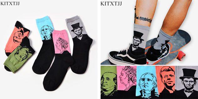 Красивые носки: мужские носки с портретами