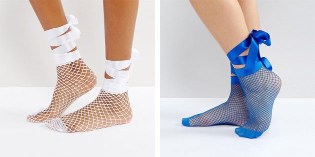 Красивые носки: носки с атласными бантами