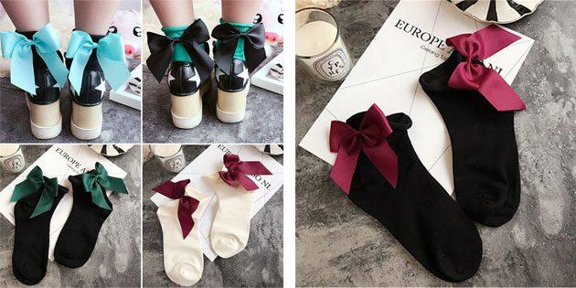 Красивые носки: носки с бантами