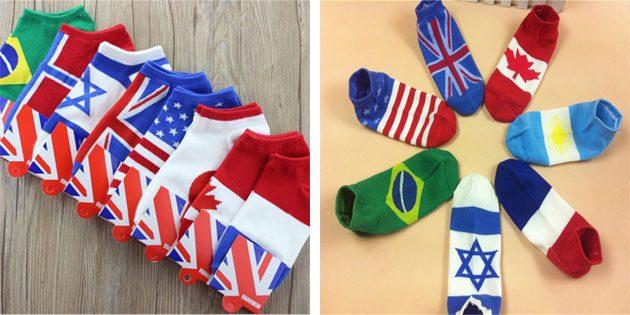 Красивые носки с флагами