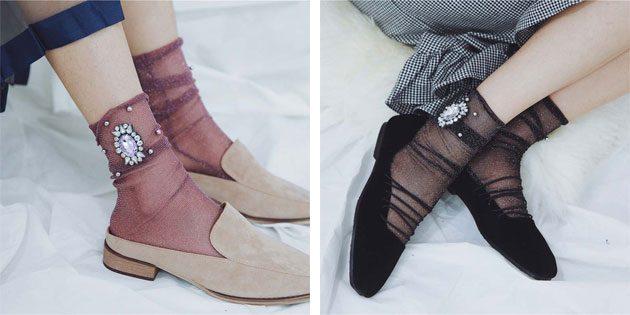 Красивые носки: носки с камнями