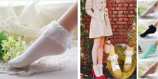 Красивые носки с рюшами