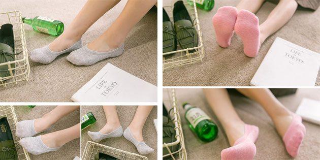 Красивые носки: однотонные носки-следки