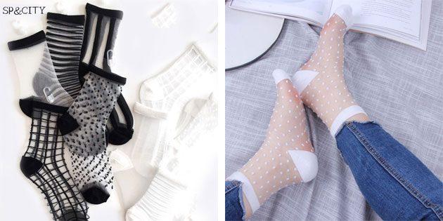 Красивые носки: Нейлоновые прозрачные носки