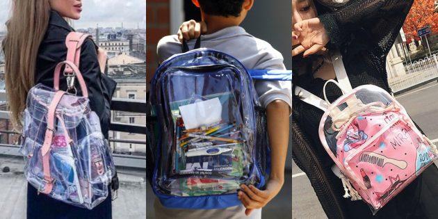 Самые модные рюкзаки 2018 года: Прозрачные рюкзаки