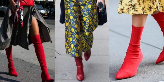Модные вещи 2018: Высокие красные сапожки