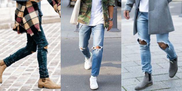 Самые модные мужские джинсы 2018 года: Искусственно состаренные джинсы