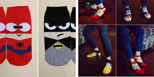 Красивые носки: мужские носки с супергероями