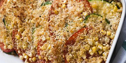 Рецепты кабачков в духовке: Запечённые кабачки с помидорами и кукурузой