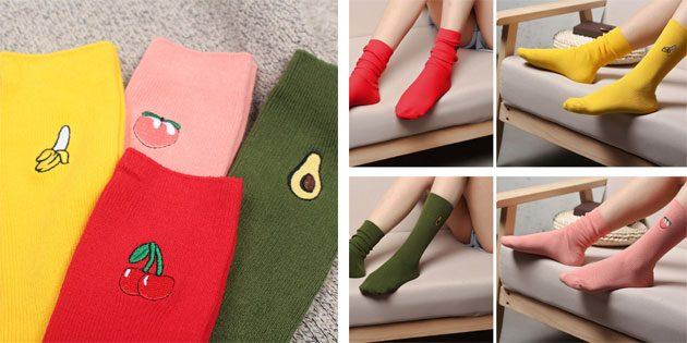 Красивые носки: Удлинённые яркие носки с фруктами